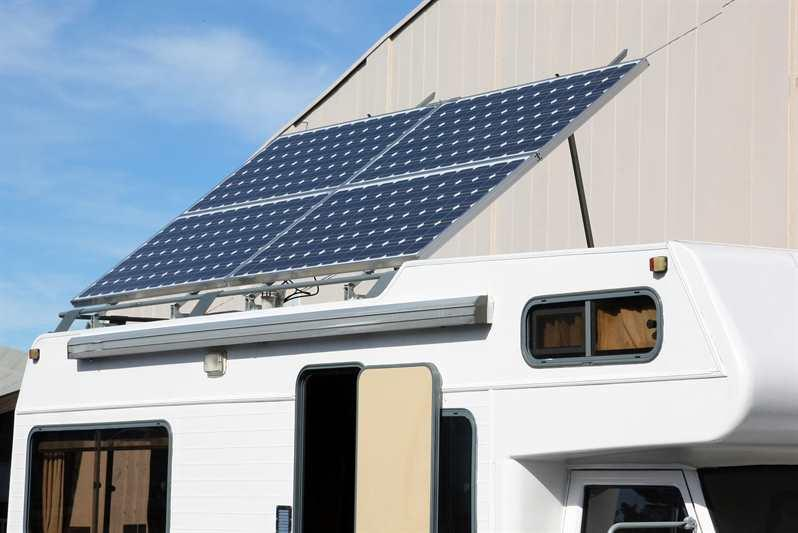 RV with Solar Panels on the Roof