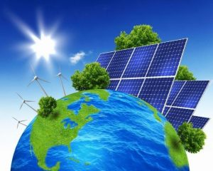 cartoon vector of the earth surrounded by solar panels and trees